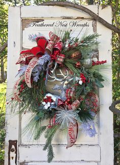Woodland Christmas Wreath was Created on a Grapevine Base. I have Layered it with an Assortment of Snowy and Icy Pine, Rustic Long Needle Pine, Pine with Small Sparkly Red Berries, Red Berries and White Flocked Berries. I have added a Graceful Woodland Christmas, Plaid Christmas, All Things Christmas, Christmas Holidays, Christmas Ideas, Merry Christmas, Christmas Decorations, Christmas Wreaths For Front Door, Winter Wreaths