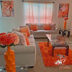 Cute Living Room, Living Room Decor Colors, Living Room Orange, Decor Home Living Room, Glam Living Room, Cute Room Decor, Living Room Designs, Home Decor, Living Room Decor Orange