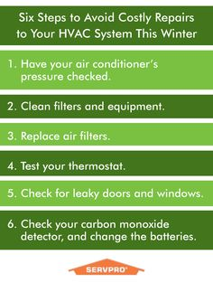 #SERVPRO - via @SERVPRO9650 Colder weather is coming! Follow this checklist to keep your HVAC system running smoothly for as long as possible.