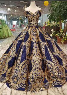 Royal Blue Sequins Gold Appliques Off The Shoulder Floor Length Wedding Dress - Kleider - Gold wedding gowns Quinceanera Dresses, Prom Dresses, Formal Dresses, Wedding Dresses, Wedding Lace, Trendy Wedding, Casual Dresses, Flapper Dresses, Luxury Wedding Dress