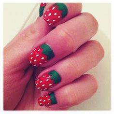 strawberry nails    Just did these to Em!