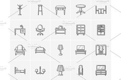Furniture sketch icon set. by Vige on @creativemarket
