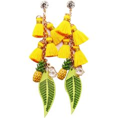 Rhinestone Pineapple Tassel Heart Chain Earrings Yellow ($4.99) ❤ liked on Polyvore featuring jewelry, earrings, chains jewelry, fringe tassel earrings, tassel earrings, pineapple jewelry and earring jewelry