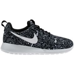 Nike WMNS Roshe One Print ($85) ❤ liked on Polyvore featuring shoes, sneakers, nike, zapatos, shoe club, women, black white sneakers, nike trainers, nike shoes and nike footwear