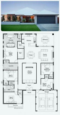 45 beste ideer for husplaner kontorer i åpen etasje House Layout Plans, Bungalow House Plans, Family House Plans, Dream House Plans, Modern House Plans, Modern House Design, House Floor Plans, Layouts Casa, House Layouts