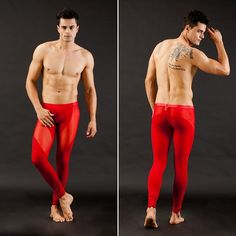 Sexy Men's Tight SKI Legging Thermal Underwear Red Pants 4Color SJ1010 - 11$
