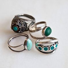 vintage turquoise rings:) I just got one of these from my mom that she used to wear in the 70s.