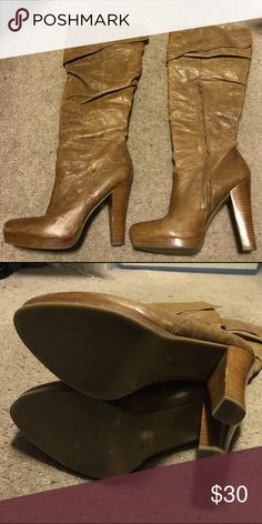 Jessica Simpson boots size 9.5 These are the cutest boots and go with almost everything. They do show a little wear on the heel as pictured. The lining is genuine leather. If you have anymore questions please let me know! Jessica Simpson Shoes Heeled Boots