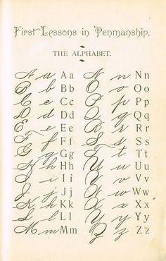 1895 School Primer Penmanship Page with cursive alphabet Alphabet A, Typography Alphabet, Caligraphy Alphabet, Tattoo Alphabet, Alphabet School, Alphabet Charts, Spanish Alphabet, Preschool Alphabet, Schrift Design