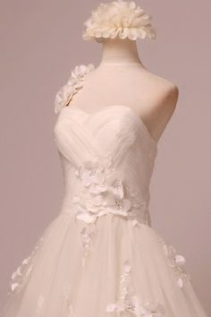 One-Shoulder Sweetheart Ballgown with flowers wedding dress with lace