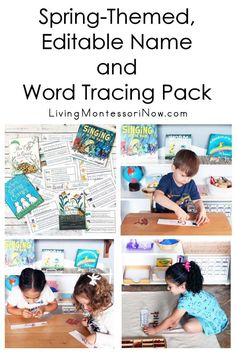 This spring-themed printable tracing pack can be customized for names, words, or numbers in print or cursive and/or another language ... a low-prep activity that's perfect for classroom or home! There are 84 printable pages and 62 different realistic images - Living Montessori Now