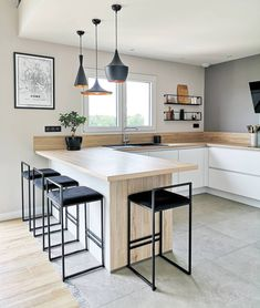 Discover recipes, home ideas, style inspiration and other ideas to try. Kitchen Room Design, Home Decor Kitchen, Interior Design Kitchen, Home Kitchens, Kitchen Ikea, Dream Home Design, House Design, Home Bar Designs, Open Plan Kitchen