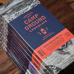 CAMPGROUND CHOCOLATECampground is a hand-made chocolate bar crafted by Rosewater Market in historic downtown Edgartown, Martha's Vineyard. The branding draws on elements of the past including an archival map and hand-drawn lantern symbol. These component… Brand Packaging, Packaging Design, Branding Design, Label Design, Web Design, Dessert Packaging, Food Packaging, Chocolate World, Chocolate Packaging