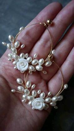 Gothic Earrings, Fancy Earrings, Golden Earrings, Rose Earrings, Feather Earrings, Wedding Earrings, Beaded Earrings, Magical Jewelry, Bridal Jewelry Sets