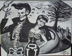 Bad To The Bone --- 1950s Rockabilly Spooky Halloween Skeleton Romance print