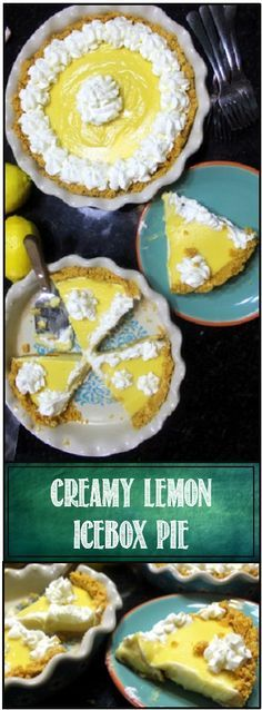 Lemon Ice Box Creamy Pie  HOT Dog days of summer... What a great time for this EASY and spectacular cold pie.  All the work is done hours ahead of time so you just pull from the ice box and serve.  Extra creamy texture, Extra Lemony taste, Even extra lemony flavor in the scratch pie shell and you have the winner you needed on those dog days of summer!