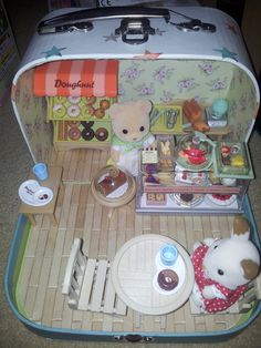 https://flic.kr/p/QWuP6T | Sylvanian families coffee shop | Sylvanian families coffee shop in carry case including doughnut set, dessert counter set, folding table and chairs and gashapon cake set.