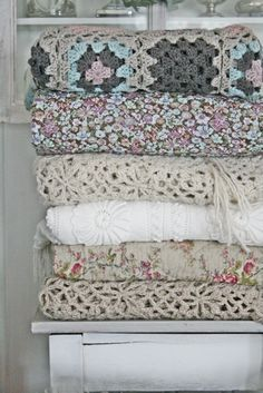 muted colors / textiles / crochet I really like the top afghan.