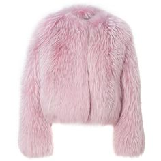 """Fur Jacket """"Anson"""" ❤ liked on Polyvore featuring outerwear, coats, pink coats, fur coat and pink fur coats"""