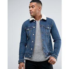 ASOS Skinny Denim Jacket With Fleece Collar in Mid Wash