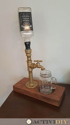 Let's dress up those kitchens with a rustic industrial liquor dispenser made from galvanized pipe.  Johnnie Walker will appreciate it!