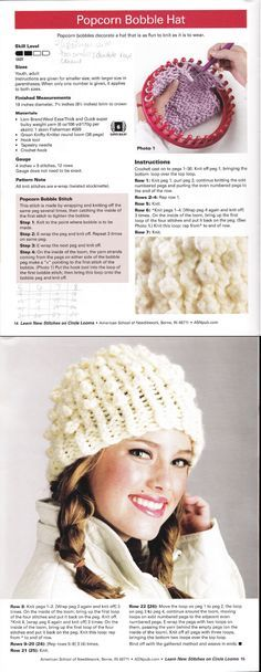 i recommend a soft yard but it turned out really well. Learn New Stitches on Circle Looms by Anne Bipes: Popcorn Bobble Hat Round Loom Knitting, Loom Knitting Stitches, Spool Knitting, Knifty Knitter, Loom Knitting Projects, Loom Crochet, Loom Knit Hat, Crochet Crafts, Yarn Crafts