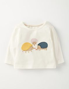Ivory/Hedgies Pretty Applique T-shirt Boden
