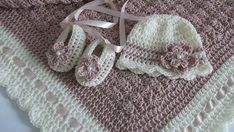 Crochet Baby Blanket / Afghan Hat and Booties Dusty Pink with