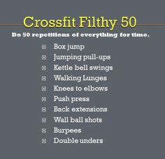Filthy fifty (I do it at home by replacing it the ball shots with squats and double unders with weighted sit ups. Fitness Tips, Fitness Motivation, Health Fitness, Wod Workout, Sunday Workout, Rowing Workout, Crossfit At Home, I Work Out, Get In Shape