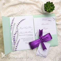 Wedding Invitations Online Flower Mint Green Pocket Pocket Wedding Invites…