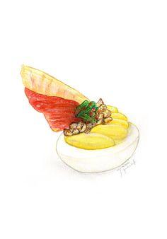 Benedict Deviled Eggs (Original recipe by Serious Eats) by Miriam Figueras. http://www.miriamfigueras.com/work/#/food-illustration/