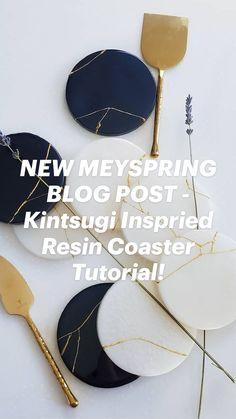 Diy Resin Art, Diy Resin Crafts, Resin Pour, Resin Tutorial, Diy Coasters, Kintsugi, Art Techniques, Ceramic Pottery, Flower Vases