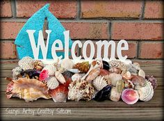 Seashell Welcome sign blue sailboat with shells #etsy  #gifts