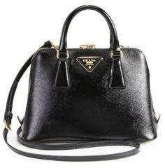 Prada Saffiano Vernice Small Round Top Handle Bag On Style Messenger