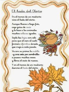 Silver Dawn Kids: EL HADA DEL OTOÑO, DE CARMEN GIL Spanish Lesson Plans, Spanish Lessons, Spanish Classroom, Teaching Spanish, Classroom Ideas, Fall Crafts For Kids, Summer Crafts, Carmen Gil, Simple Poems
