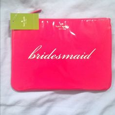 """Kate Spade Gia Cosmetic Clutch Coated Fabric,Zipper closure, 7.5""""H 10.25W, Fabric lining. bridesmaid color pretty dark pink. New with tags. kate spade Bags Clutches & Wristlets"""