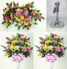 Ultimate Headstone Package with Gerbera Daisies - Pink Grave Flowers, Cemetery Flowers, Cemetery Vases, Memorial Flowers, Pink And Green, Yellow, Flower Packaging, Gerber Daisies, Flower Spray
