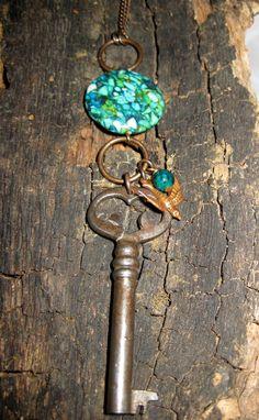 Skeleton Key Necklace, Key Necklace, Turquoise Necklace, Long Necklace, Beaded Key Necklace, antique skeleton key. By Tiny Yellow Key Designs $29!!