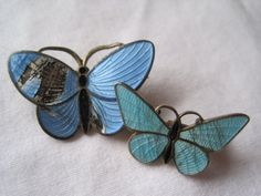 Vintage Enamel Butterfly Brooches - One Sterling