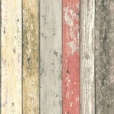 Multi 8951-27 Realistic Distressed Wood Panel New England A.S Creation Wallpaper