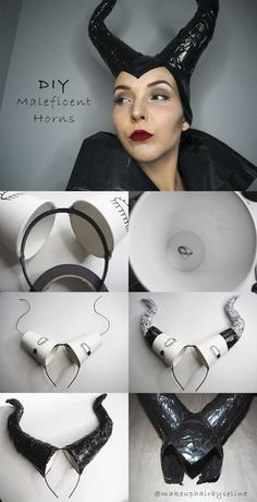 """Here is my """"Do it yourself Maleficent horns"""". So easy to make! Maleficent Cosplay, Malificent Horns Diy, Maleficent Halloween Costume, Diy Halloween Costumes, Halloween Kids, Halloween Makeup, Maleficent Makeup, Maleficent Party, Christmas Costumes"""