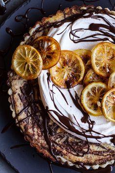 Chocolate Fudge Swirled Lemon Ricotta Tart