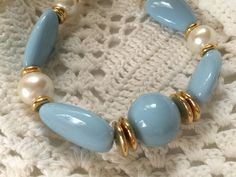 Vintage Gold Blue & Pearl Beaded Necklace, Retro Plastic Necklace, Long Graduated Chunky Lucite Beads, 1970s Jewelry, Vintage Fashion by ReTHINKinIt on Etsy