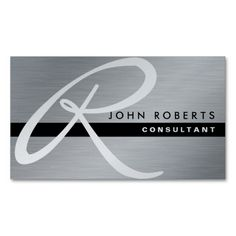 Professional Elegant Monogram Silver Metal Modern Business Card. This great business card design is available for customization. All text style, colors, sizes can be modified to fit your needs. Just click the image to learn more!