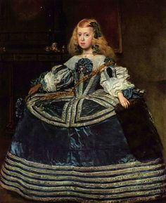 The Infanta Margarita is shown, when eight years old, wearing the cartwheel farthingale, 1659.