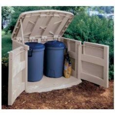 Outdoor Garbage Cans | outdoor trash can storage -diy shed storage ideas Garbage Can Storage ...