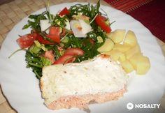 Lazac kaprosan zöld salátával Feta, Camembert Cheese, Dairy