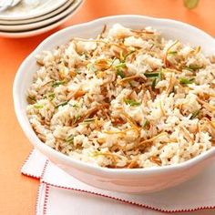 Vermicelli Rice Pilaf Recipe -At the holidays, I use butter and white rice in this recipe, just like my mom and generations of Armenian women did. But most days I saute the vermicelli in olive oil and substitute brown rice for white. —Jean Ecos, Hartland, Wisconsin