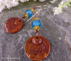 Earrings  Artisan Copper  Buddha Charms with by PattiVanderbloemen, $29.00