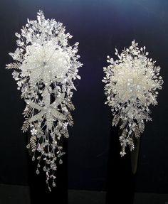 WEDDING FLOWERS BESPOKE BRIDE & BRIDESMAID WHITE & SILVER CRYSTAL BOUQUETS | eBay
